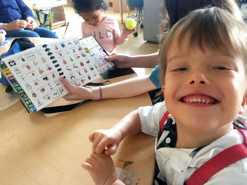 "Milo Lorentzen is learning to read and speak using an alternative language method that incorporates symbols and pictures. ""He was starting to have behavioral issues until we gave him this method,"" says his mother, Karen Park. ""Now Milo has a voice."""