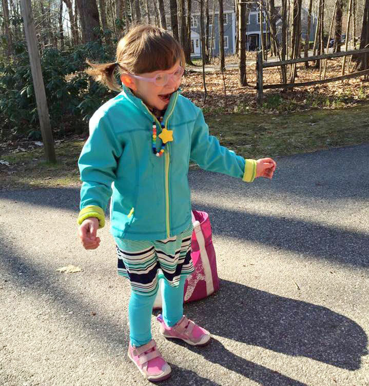 Tess Bigelow is 6 years old and functions at an 18-month-old level. Recently she walked 100 meters in the Special Olympics.
