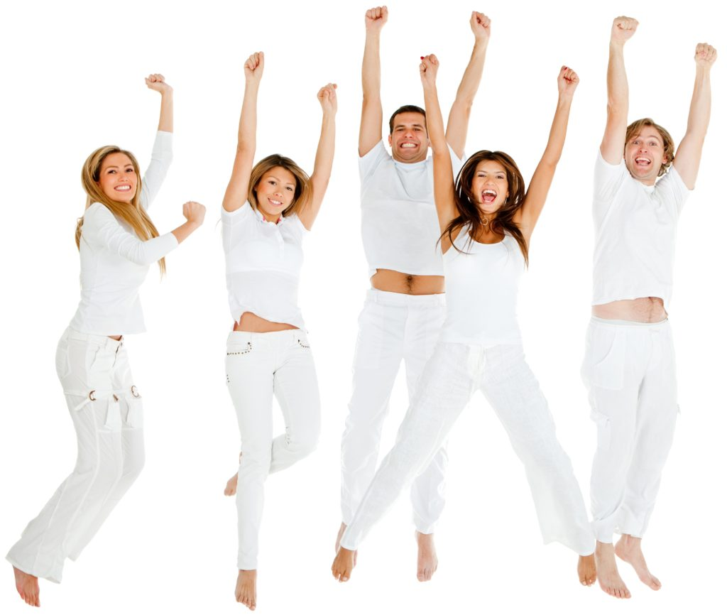 Happy group of people jumping - isolated over a white background